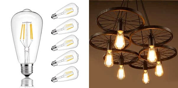 CMYK Vintage Edison LED Bulb, Dimmable 4W ST64 Antique LED Bulb