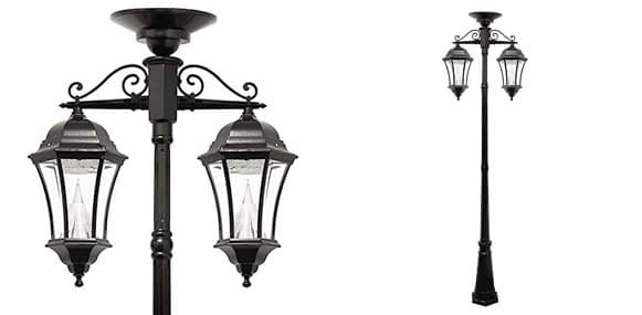 9. Gama Sonic Victorian Solar Outdoor Lamp Post