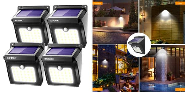 3. Zookki Solar Motion Sensor Flood Lights