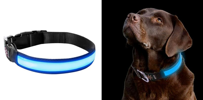LivingABC LED Dog Collar, USB Rechargeable Waterproof Neck Collar
