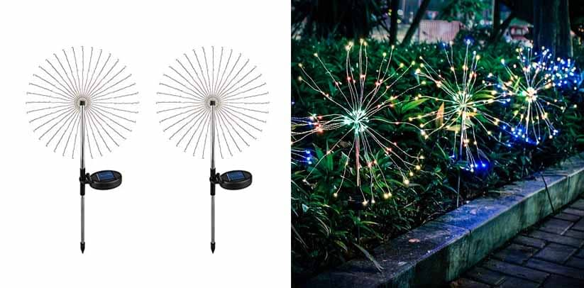 Epicgadget 105 LED Multi Color Outdoor Firework Solar Garden Decorative Lights for Walkway Pathway Backyard Christmas Decoration
