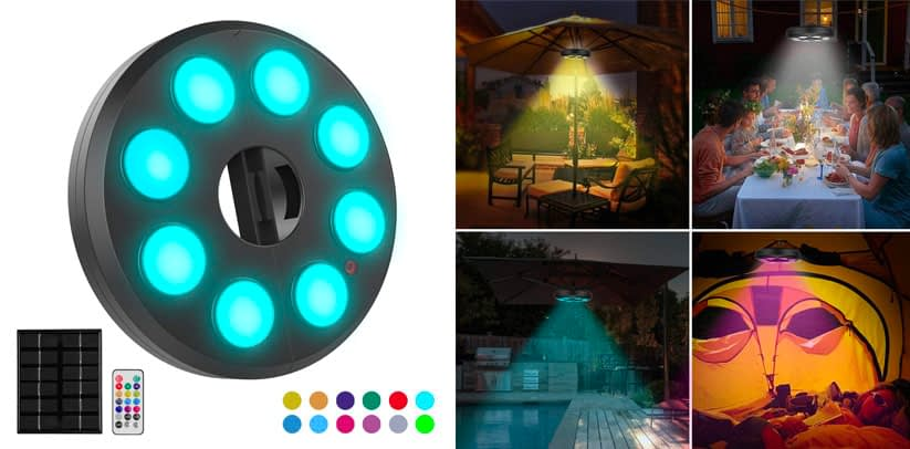 5. Multi Colored Patio Dimmable LED Umbrella Lights