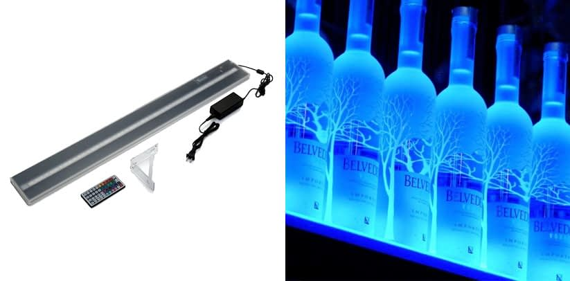 Wall Mount LED Liquor Shelf and Bottle Display