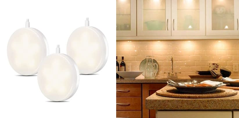LE LED Under Cabinet Battery Powered Puck Lighting Kit