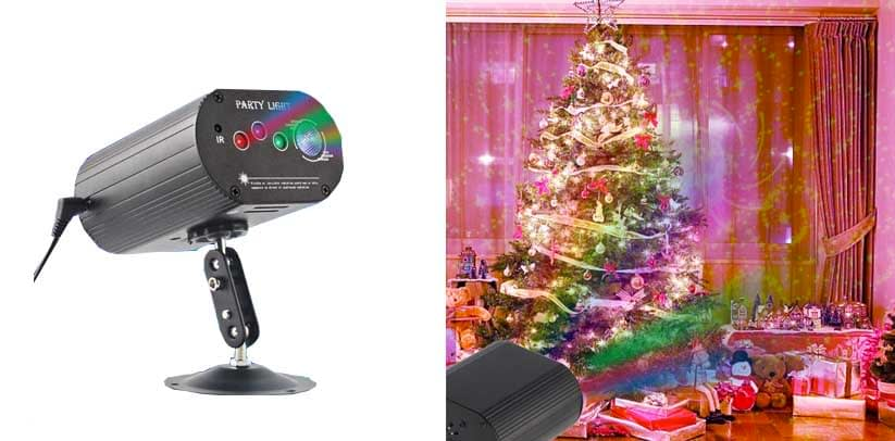 CHINLY Party Lights RGB DJ Disco Stage Laser Light Sound Activated Led Projector for Christmas