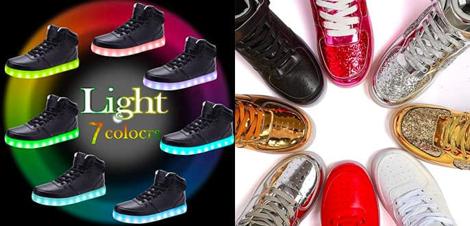 1. Odema High Top USB Charging LED Shoes Flashing Adult Sneakers