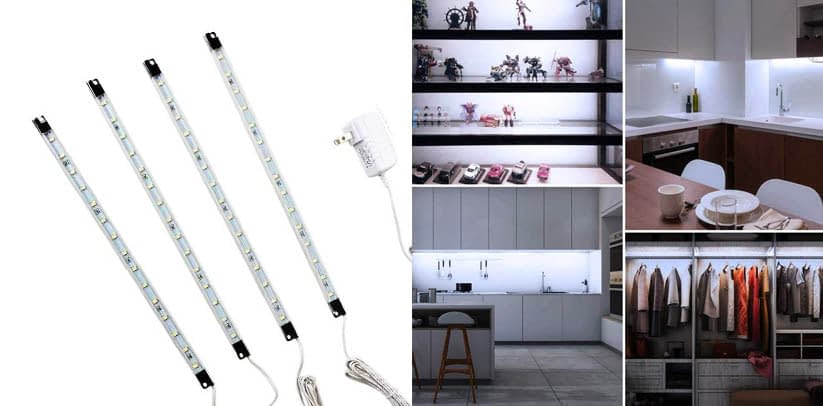 Efrank Set of 4 White LED Strip Lights Bar