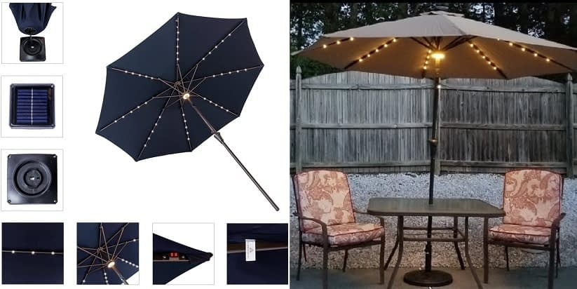 FLAME & SHADE Patio Umbrella (Pre-fitted with Lights)