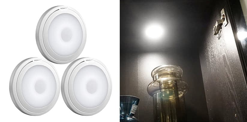 SOAIY Touch Light Battery Powered Ultra-Thin Touch Sensor LED Battery Powered Puck Lights