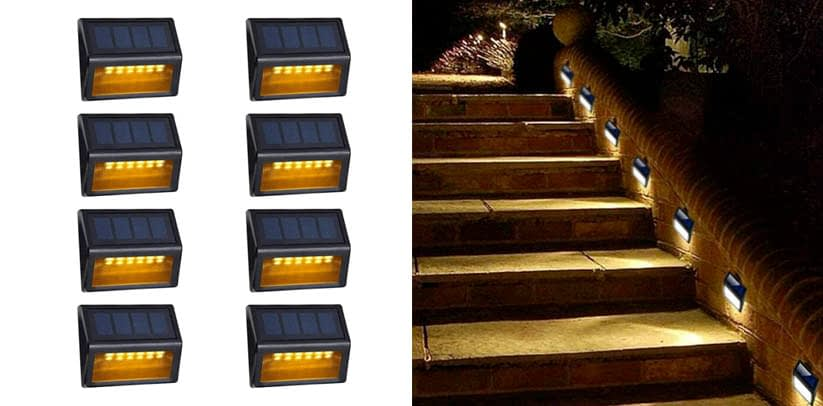 Solar Step Lights Outdoor - Amei 6 LED Solar Deck Step Lights
