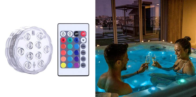 Qoolife Submersible LED Lights Remote Control Battery Powered Puck Lights