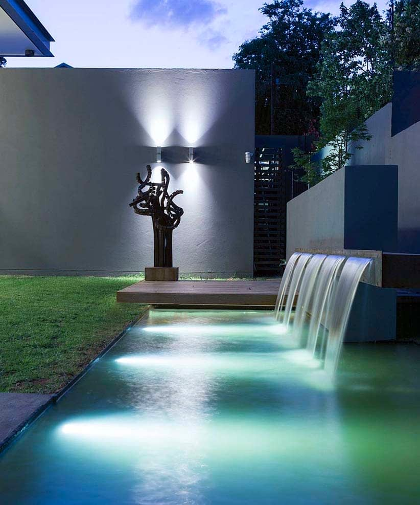 Submersible Pond Lighting with a Water Feature