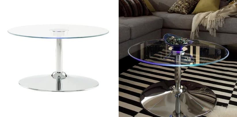 Inspire Q Lorin Cool Round Glass LED Coffee Table
