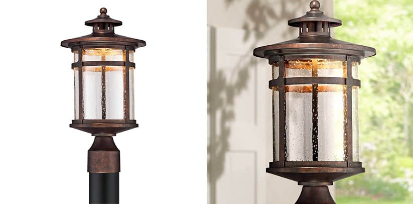 6. Franklin Iron Works Callaway Rustic Bronze LED Outdoor Solar Post Light