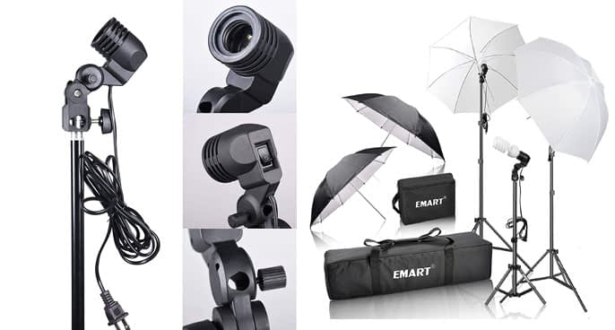 3. Emart 600W Studio Photography Portrait Photo Umbrella Kit