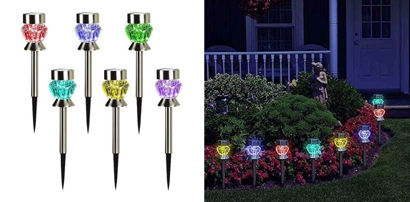 SunnyPark Dual Color Changing LED Landscape Stake Outdoor Solar Lights for Walkway