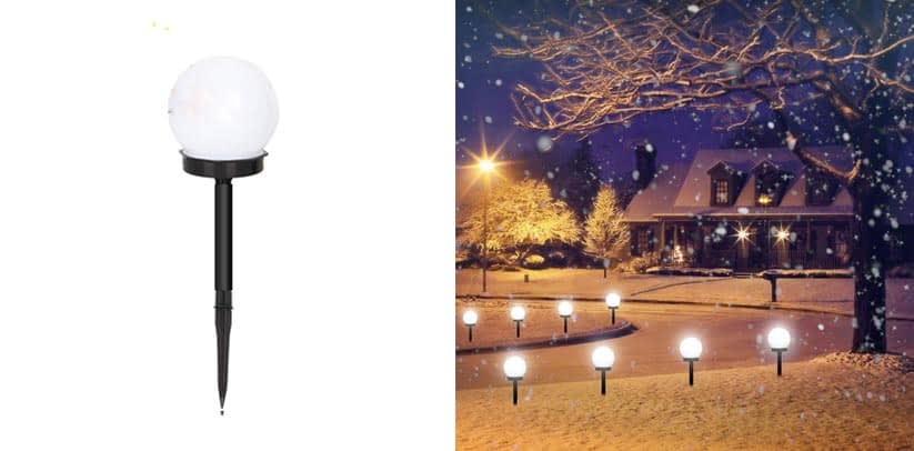 Otdair Solar Lights Outdoor, 8 Pack Solar LED Globe Powered Christmas Pathway Lights