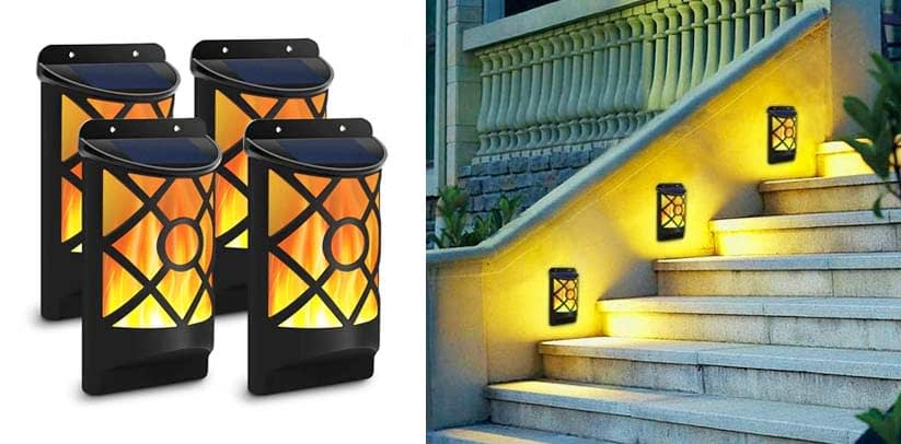 Solar Flame Lights Outdoor, Aityvert Waterproof Flickering Flame Solar Fence Lights