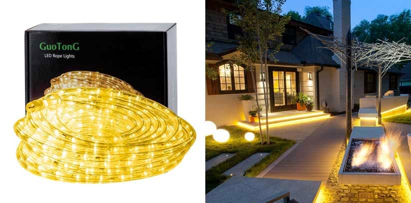 GuoTonG 50ft 15m Plug in LED Rope Lights