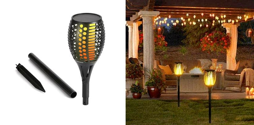 CINOTON Solar Light,Path Torches Dancing Flame Lighting
