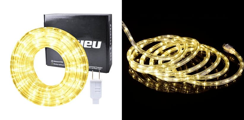 ollrieu LED Rope Lights Outdoor White 50ft Waterproof Flexible LED Rope Lighting
