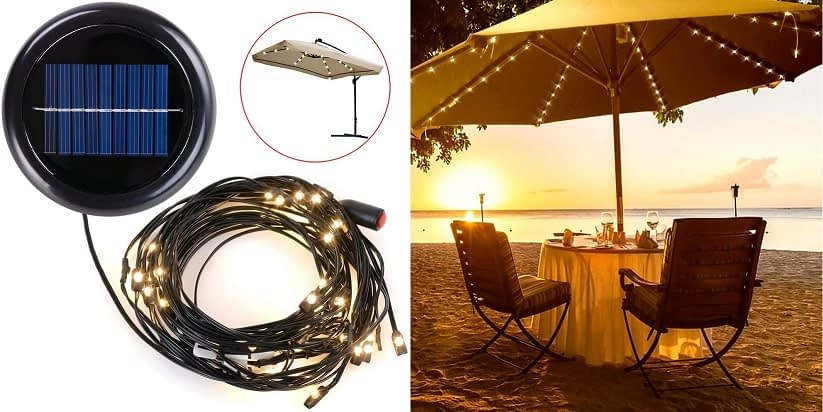 Yescom LED Solar Powered Umbrella String Lights (Warm White)