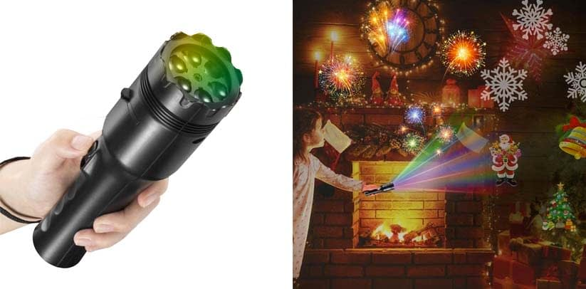 NEXGADGET Christmas Projector Light, LED Decoration Light, Handheld Flashlight for Kids