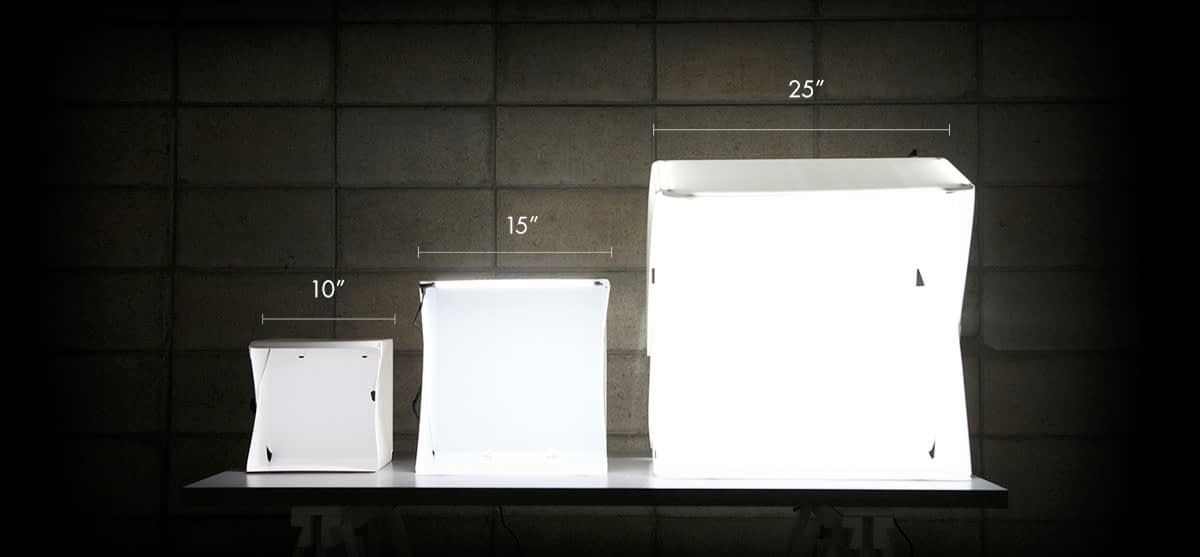 Available Sizes of Foldio Light Box