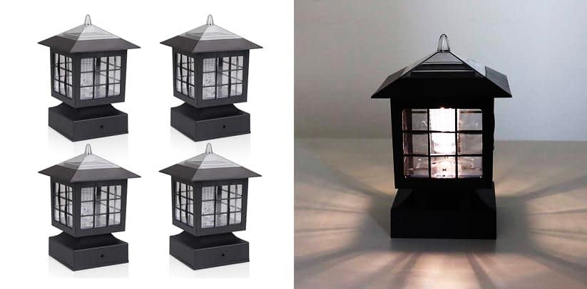 KMC Lighting Fence Post Industrial Style Black Lanterns