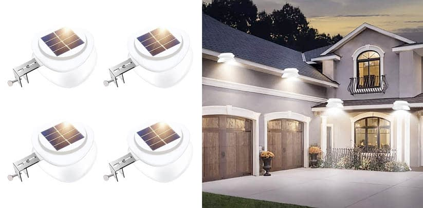Solar Gutter Lights, Outdoor 9 LED Fence Light Waterproof Wall Lamps