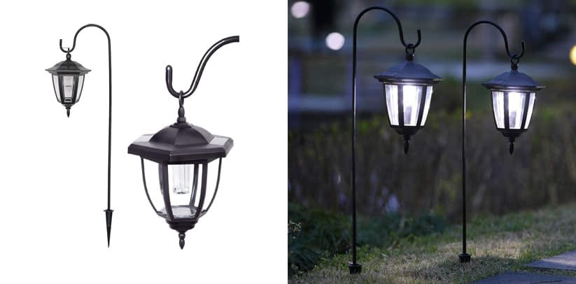 Maggift 34 Inch Hanging Solar Lights Dual Use Shepherd Hook Lights Christmas Pathway