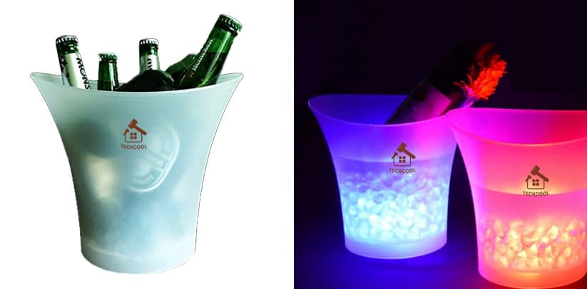 LED Ice Bucket,TECKCOOL 5L Large Capacity Wine Cooler Led