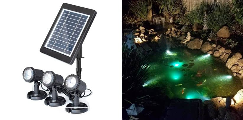 COODIA Solar Powered Underwater Night Light 3 Submersible LED Solar Pond Lights
