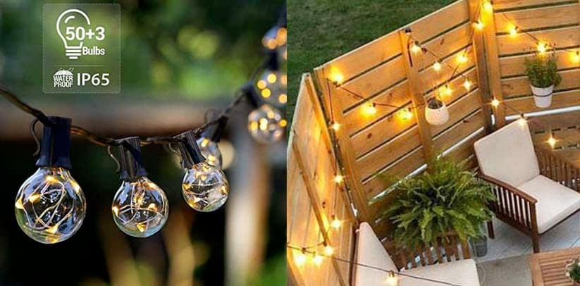 Novtech Outdoor Patio String Lights 58FT