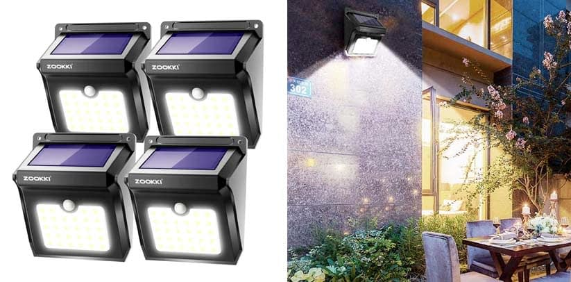 ZOOKKI Solar Lights Outdoor, 28 LED Wireless Motion Sensor Flood Lights