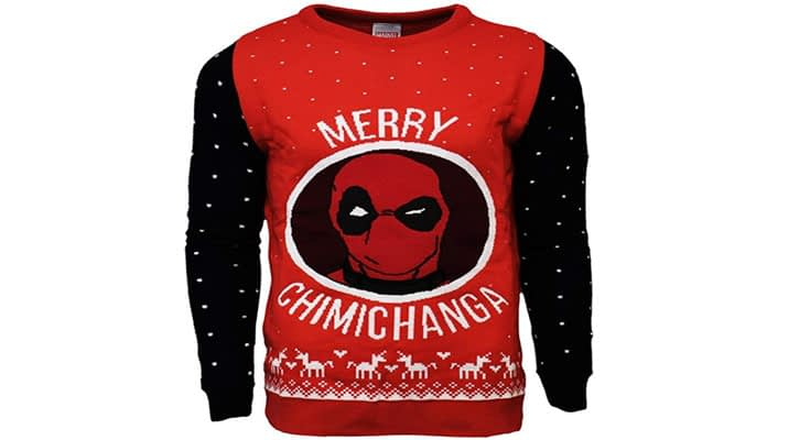 Marvel Official Deadpool Merry Chimichanga Christmas Jumper Ugly Sweater