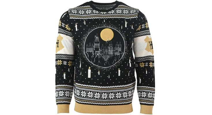Harry Potter Christmas Jumper Ugly Sweater Hogwarts Castle Candles LED Light